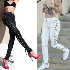 Fashion Sexy Denim Long Pants. whaonck. 2017 Newest Lace Up Side Stripe Pencil  Pants Women ... 38a59e22b22a