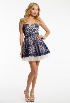Two Tone Lace with Tulle from Camille La Vie and Group USA #homecoming #homecomingdress #camillelavie #groupusa #twotone #lace #shortdress
