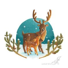 Illustration for a winter animal collection. Here a deer and its fawn, enjoying the delicacy of the snow falling. Where Do I Live, Deer, Moose Art, Snow, Illustrations, Drawings, Winter, Pattern, Animals