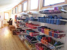 Silvia Heyden studio - nice way to store yarns
