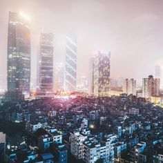 Late show. City Lights At Night, Night Light, Gas Lights, Guangzhou, Seattle Skyline, San Francisco Skyline, Ocean, China, Instagram Posts