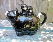 Vintage Collectible Teapot Black Cat with Kitten Takahashi