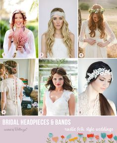 Folk style hairstyles and headpieces #bohoweddings #folkweddings