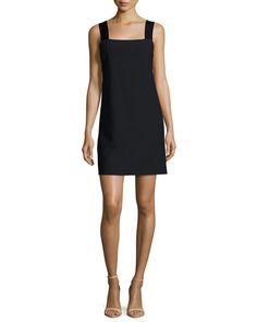 Carina Sleeveless Ponte Shift Dress, Dark Navy