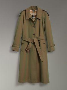 Side-slit Tropical Gabardine Trench Coat in Bright Olive - Women | Burberry Australia - cell image 3