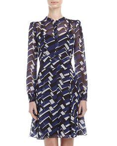 Leandri Chevron-Print Chiffon Dress, Navy by Diane von Furstenberg at Neiman Marcus Last Call.