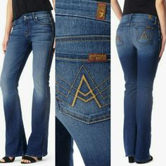 """7 for All Mankind """"A"""" Pocket Jeans First photo is stock photo of model wearing this style of Jeans. Size 27. Length """"40. Inseam """"33. Rise """"9. Laying flat """"13.5.  These Jeans are in Good condition. Authentic and from a Smoke And Pet free home. All Offers through the offer button ONLY.  Ask any questions BEFORE purchase. Please use the Offer button, I WILL NOT negotiate in the comment section. Thank You  7 for all Mankind Jeans Boot Cut"""
