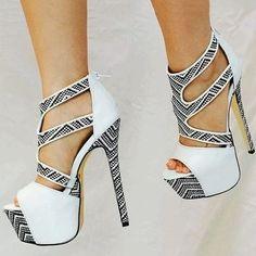 Shoespie Gorgeous Snake Pattern Open Toe Platform Heels