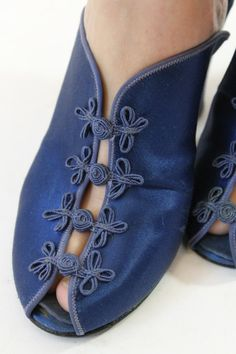 Comfy and chic Daniel Green satin peep toes! Done in a cobalt blue satin. Peep toe with asian frog closures. Man made sole.  ♥♥♥ Brand: daniel green
