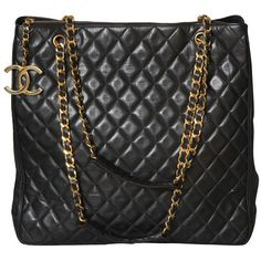 CHANEL BLACK TOTE BAG WITH QUILTED DETAILS at 1stdibs ❤ liked on Polyvore