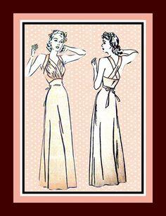 Vintage 1940s SENSATIONAL Film Noir Slinky by FarfallaDesignStudio, $95.00 Vintage Sewing Patterns, Clothing Patterns, Back Strap, Nightgown, Pjs, Retro Fashion, 1940s, Bodice, The Past