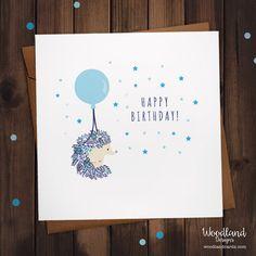 Hedgehog Birthday Blue Balloon Design by WoodlandDesignsUK on Etsy