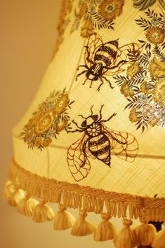 Yellow embroidered bee lampshade by Nikki Rose Buzzy Bee, Bee Skep, I Love Bees, Art Nouveau, Bee Art, Save The Bees, Bee Happy, Bees Knees, Mellow Yellow