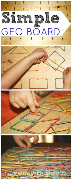 DIY Simple Geo Board creative and fun way to practice fine motor skills! Why a geo board for fine motor skills? For the longest time, I have wanted to make Liam a geo board. We have explored a few at different children's museums in the past, and I have Toddler Activities, Learning Activities, Preschool Activities, Fine Motor Activities For Kids, Preschool Learning, Physical Activities, E Learning, Geo Board, Homeschool Math
