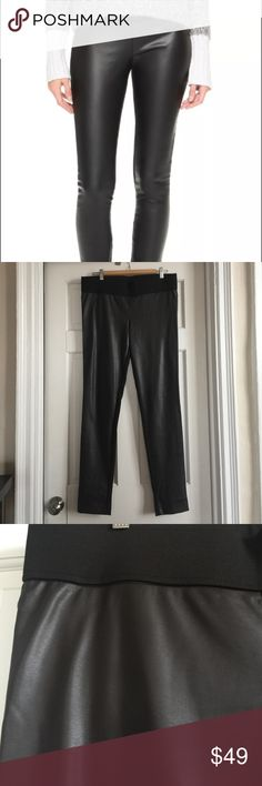 Club Monaco Faux leather pant, size 12 Great condition. Comfy and fashionable.  Size 12. Brown front, black back.  A faux-leather front panel lends an edgy touch to these formfitting Club Monaco leggings. The seamed back yoke and wide, covered elastic waistband create a flattering fit. Fabric: Faux leather / ponte jersey. 84% viscose/16% polyester. 68% viscose/28% nylon/4% elastane. Dry clean. Imported, China. Club Monaco Pants Leggings