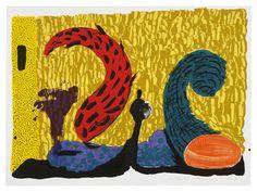 David Hockney Pushing Up, 1994   литография/шелкография в 13 цветов отпечатано в Gemini G.E.L. 64 x 86 см тираж 68 экз. $10,000  #lithography #skreenprint #davidhokney #geminigel