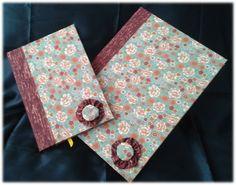 Cadernos com fuxico floridos