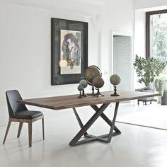 Millenium Tisch von Bontempi - Metallgestell, Platte aus Massivholz