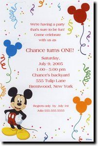Mickey Mouse Birthday Invitation Set Of 12 By Taylorfaithdesign