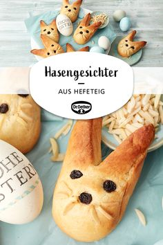Rabbit faces: cute rabbits made of yeast dough for Easter Festival board Best Picture For Easter Recipes Dessert brunch i Easter Dinner Recipes, Healthy Dinner Recipes, Appetizer Recipes, Baking Recipes, Cake Recipes, Dessert Recipes, Desserts, Egg Recipes, Pizza Recipes