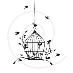 Free birds with birdcage and tree branches, digital clipart, clipart for houswarming party, home decoration, printable, download. $5.00, via Etsy.
