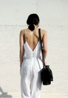 elli-rose:  White Spaghetti Strap Backless Loose Jumpsuit c/o Sheinside