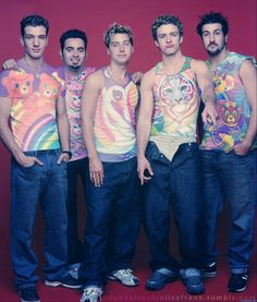 NSYNC in Lisa Frank. Plus Justin's duck face You're welcome.