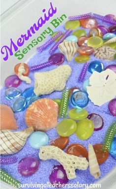 How to Make a Mermaid Sensory Bin for Preschool Play, DIY and Crafts, Mermaid Sensory bin is magical preschool play! Just bring your creative imagination and fill a container with seashells, purple and green sand, glass . Sensory Bins, Sensory Activities, Preschool Activities, Sensory Play, Sensory Rooms, Mermaid Crafts, Mermaid Diy, Preschool Crafts, Crafts For Kids