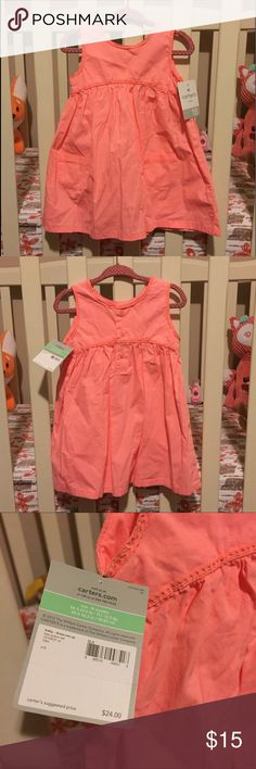 Carters Infant Girls Dress and Bloomers 👧🏻 Carters Infant Girls Dress and Bloomers, NWT. Beautiful bright coral color.   ⭐️ Bundle & Save, Posh Rules Only ⭐️ All Offers Accepted or Countered ⭐️ Smoke and Pet Free Environment Carter's Dresses Casual