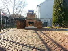 Compact Fireplace added to existing pool deck Compact, Swimming Pools, Landscaping, Sidewalk, Deck, Outdoors, Patio, Outdoor Decor, Home Decor