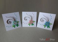 Set of 3 quilled, paper, handmade, greeting cards with 3D flowers in pastel colors - mint, pink and blue