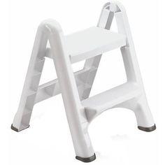 Rubbermaid 2-Tier 300 lb Capacity Folding Flat Plastic Sturdy Step Stool Ladder
