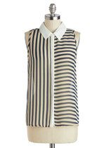 Fashion Sense of Direction Top in Navy | Mod Retro Vintage Short Sleeve Shirts | ModCloth.com
