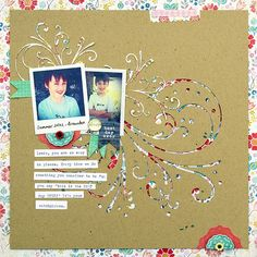 scrapbook page by Amanda Jones with die cut flourish positive and negative space