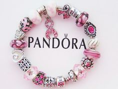 Authentic Pandora Silver Bracelet With European Charms Breast Cancer Pink Ribbon #PANDORA