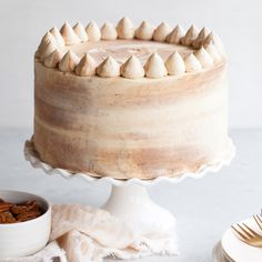 Chocolate Bourbon Pecan Cake - chocolatey cake with brown sugar buttercream infused with bourbon and pecans.