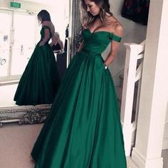 Emerald Green Off The Shoulder Custom Long Evening Prom Dresses Prom Dresses, Long Prom Dress, Emerald Prom Dress, Custom Made Prom Dress, Green Prom Dress Prom Dresses 2019 Grad Dresses Long, Prom Dresses With Pockets, Dresses For Teens, Long Green Prom Dress, Emerald Green Wedding Dress, Emerald Green Evening Dress, Emerald Green Dresses, Graduation Dresses, Cheap Gowns