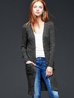Long ribbed cardigan