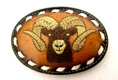 Brown Leather Western Cowboy Belt Buckle by honeyblossomstudio, $22.99