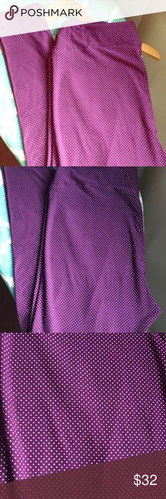 LuLaRoe TC Purple Polka Dot Leggings 💜 How fun are these?! Purple is my absolute FAVORITE color, so it pains me to list these! But, I just haven't gotten around to wearing them and they deserve a better home! These are pretty much as close to solid purple as you can get without having to spend a fortune for solid TC leggings. Tiny white polka dots add just the right amount of fun! You could pair SO many fun tops/dresses with these! It's the perfect neutral purple, not too bring or dark…
