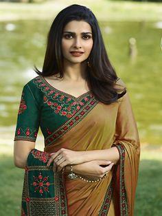 Kashmiri Silk Embroidery India Bollywood Designer Sari Indian Traditional Ethnic