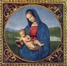 Raffael.Madonna Conestabile, Szene: Maria mit Christuskind, Tondo. 1504, Öl auf Holz, auf Leinwand übertragen, Durchmesser 17,9 cm. St. Petersburg, Eremitage. Italien. Renaissance.KO 03499