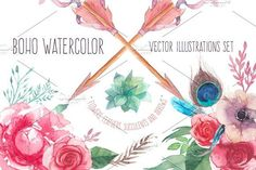 Boho watercolor by Eisfrei on @creativemarket