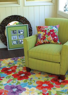 Love the bright colors of the rug.  Company C Wool Rug Giverny