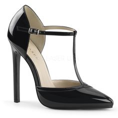 5 inches Heel T- Strap d'Orsay Pointed Toe Pump