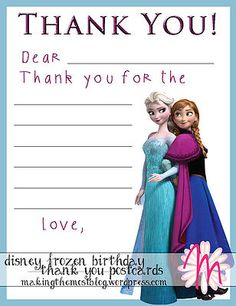 Disney Frozen Birthday | Thank You Notes | Making the Most Blog
