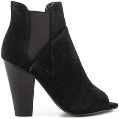 Guess Footwear Women's Besy - Black Multi Suede ($114) ❤ liked on Polyvore featuring shoes, boots, black, black high heel boots, black ankle boots, bootie boots, peep toe bootie and black peep toe bootie