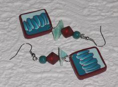 Ohrhänger - Ohrhänger petrol-mint-weinrot Quadrate - ein Designerstück von iCo-Design bei DaWanda