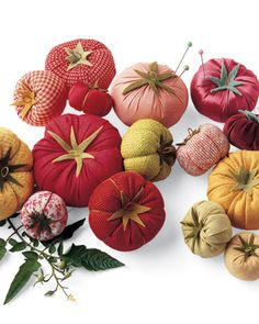 """""""Homegrown"""" Tomato Pincushions  These whimsical sewing-box staples are just as sweet as garden-grown tomatoes, and you don't have to wait until summer to enjoy them."""
