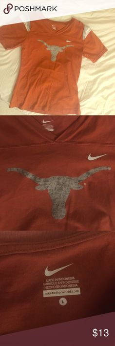 Texas Longhorn T-shirt Super cute, brand new, without tags, never been worn, youth size L or woman's size XS v-neck Nike t-shirt. Has number 1 on back Nike Tops Tees - Short Sleeve